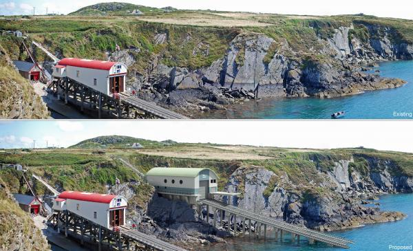 OLD AND NEW: A photo montage of how the new lifeboat station will look at St Justinians. PICTURE: St Davids RNLI