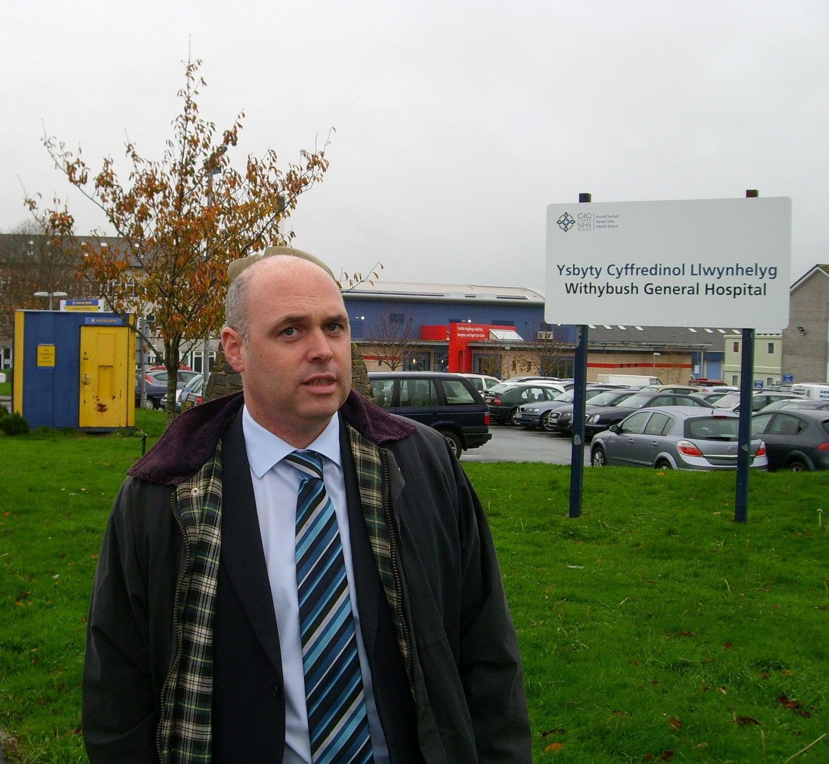 ANGRY: Preseli Pembrokeshire AM Paul Davies, pictured outside Withybush Hospital, said the delay in opening the new renal unit was totally unacceptable.  (8664768)