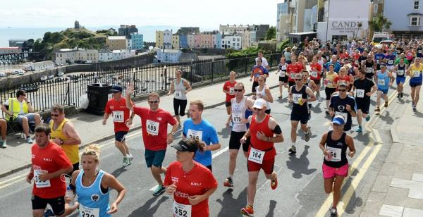 GOOD TIMES: Record numbers turned out for the Tenby 10k run.  PICTURE: Gareth Davies Photography