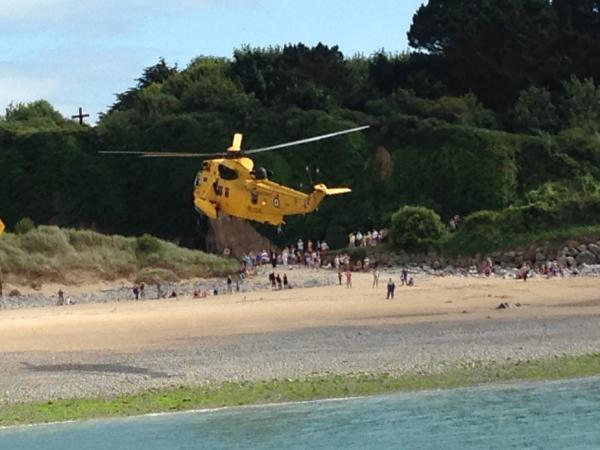 AIRLIFTED: RAF Rescue 169 airlifted a casualty from Caldey Island.