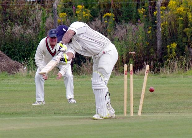 CLEAN BOWLED: Johnston opener Daniel Sutton is bowled by Whitland's David Dunfee with the first ball of the innings. PICTURE: Western Telegraph. (8898575)