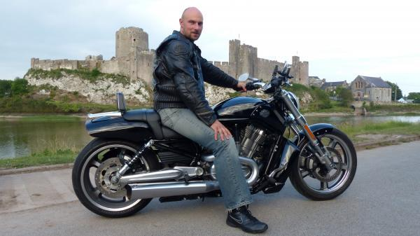 FOR A GOOD CAUSE: Patryk Borajkiewicz who will be riding 5,000 miles across Poland on his Harley Davidson to raise money for orphans.