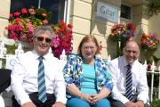 Celebration visit: Welsh tourism minister Edwina Hart is pictured with Malcolm Brace (left) and Patrick Jenkins at the Giltar Hotel on Monday. PICTURE: Gareth Davies Photography  (9410114)