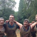 Western Telegraph: TOUGH MUDDERS: The G Team; Oliver Davies, Ryan Leeke, David Havard and David Roscoe took part in the Tough Mudder in memory of school friend Gianni Sonvico. (9552168)