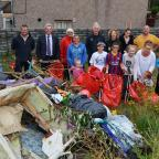 Western Telegraph: GETTING STUCK IN: Local residents, pictured at the start of the clean-up along with Ian Chalmers; Cllrs Simpson and Stoddart; Principal Environmental Health Officer Tom Hayes and Mari Williams from Keep Wales Tidy. (9745043)