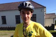 PEDAL POWER: Thomas arrives at Tiers Cross YFC.
