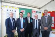 FARMING TALK: From left: FUW vice president Richard Vaughan, Stephen Crabb MP, Simon Hart MP, FUW Pembrokeshire county chairman Hywel Vaughan and FUW Pembrokeshire president John Savins. (10005221)