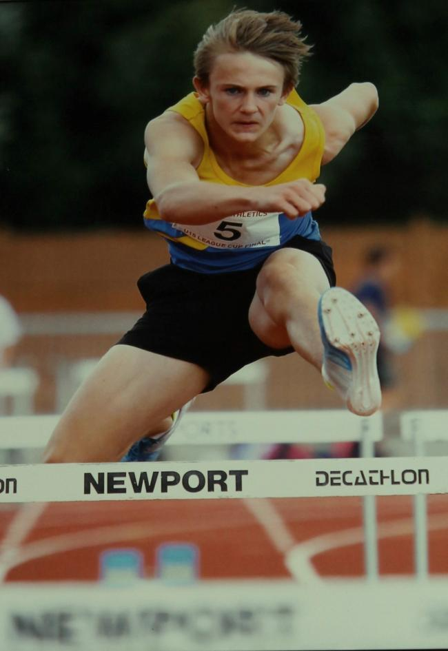 ONE STEP AHEAD: Shaun Zygadlo competing over the high hurdles for Pembrokeshire Harriers. (10018637)