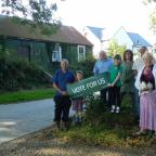 Western Telegraph: HELP SAVE OUR HALL: Barrie Griffiths, Roy Lewis, Jacqueline James, David and Isaac Moore and the Bradburys hope you will vote for Treffgarne Village Hall. PICTURE: Western Telegraph  (10383753)