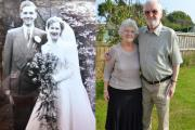 THEN AND NOW: Reg and Wendy on their wedding day in 1954 and the couple today.PICTURE: Western Telegraph