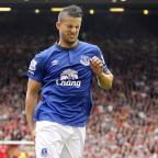 Western Telegraph: Everton's Kevin Mirallas pulled up injured during the Merseyside derby