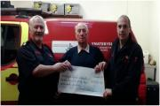 BIRTHDAY BENEVOLANCE: Watch Manager Euros Edwards (Crymych Fire Station); Mr Hedley George; Watch Manager Jeremy Trew (Pembrokeshire Community Safety Team Manager) (13177643)