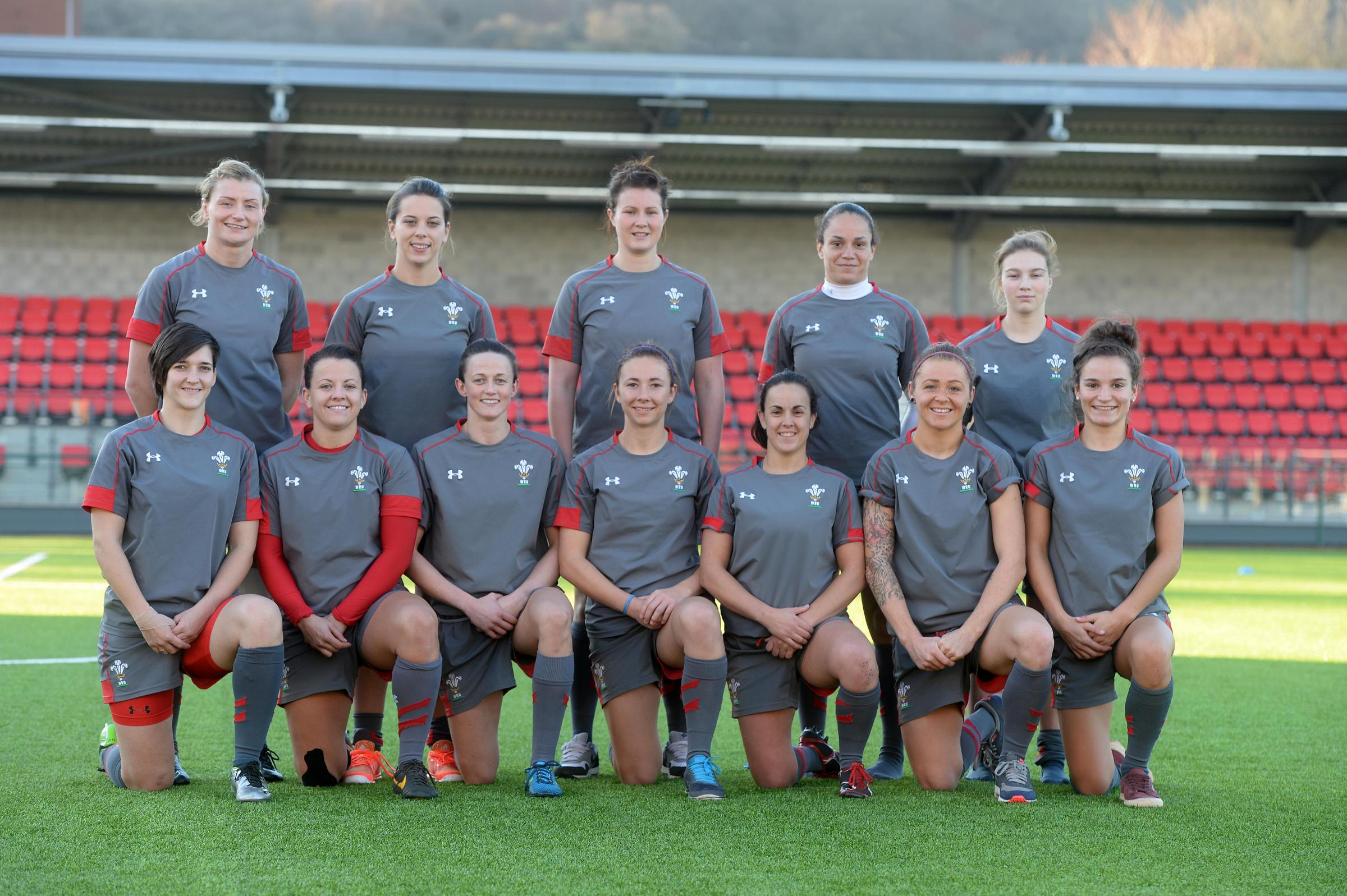 DUBAI DELIGHT: Jasmine Joyce (front row, far right) made her Welsh 7s debut in Dubai this weekend. PICTURE: Huw Evans Photo Agency.