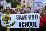 Ysgol Dewi Sant pupils fight for their school's future. PIC: Western Telegraph