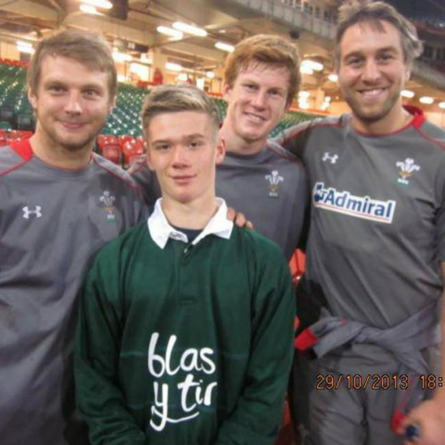 GOOD COMPANY: Dan Rawlings with Dan Biggar, Rhys Patchell and Ryan Jones at the Millennium Stadium. (17291305)
