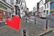 Heart balloons on Haverfordwest High Street. PICTURE: Deborah Tilly (18562287)