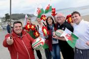 Setting the style for Saundersfoot's patriotic 'selfie' competition are Saundersfoot Chamber for Tourism's Phil Odley, Michael Slade, Maria Smith, Debbie Apperley, David Kirkpatrick and Dai Ellis. PICTURE: Gareth Davies Photography  (18950927)