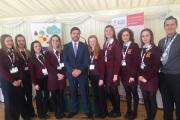 Ysgol y Preseli students are pictured with local MP Stephen Crabb.