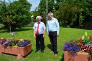 Wales in Bloom judge John Woods is pictured with the Rev Geoffrey Eynon at last year's judging.PICTURE: Western Telegraph.