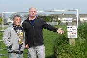 Slade Park residents Steve Evans (right) and Tony Dalton say a dog mess problem at their local playing field must be addressed. PICTURE: Western Telegraph  (23085367)
