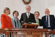 The Deacons of Harmoni Chapel, Pencaer Olwen George, Eleri Duggan, Valerie Llewhelin and Roy Williams, are pictured with the Rev John Roberts on his retirement.PICTURE: Johnny Morris