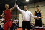 Best boxer of the night Chris O'Sullivan of Merlins Bridge ABC has his arm raised by referee Mark Davies. PICTURE: Western Telegraph. (26340129)