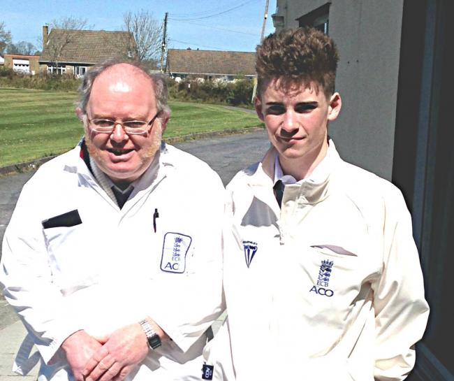 Kieran O'Connor with his mentor Huw Davies prior to his first match (26808793)