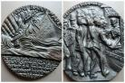 The medal, owned by Alan Morgan, reads: 'The great steam ship Lusitania sunk by a German submarine 5 May.' (27851982)
