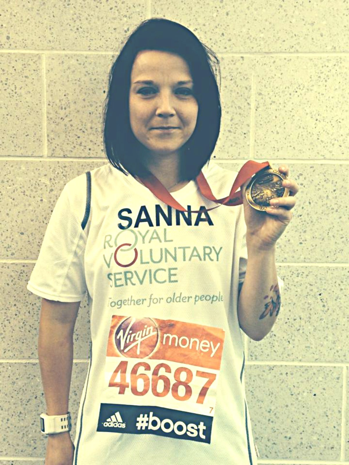 Sanna Duthie after running the 2014 London Marathon (30126453)
