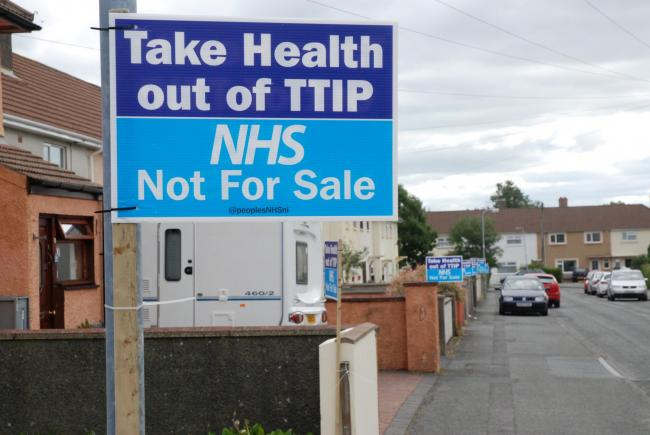 The People's NHS Wales lined Priory Avenue and other street in Haverfordwest with anti-TTIP placards. PICTURE: (S)  (33990018)