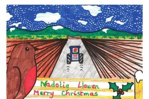 Nia, 10, wins Christmas card competition