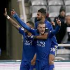 Western Telegraph: Leicester's Jamie Vardy, front, celebrates his record-equalling goal at Newcastle last week