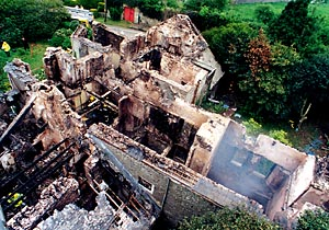 The remains of Llawhaden House shortly after the fire which devastated the grade II listed building in 2000.
