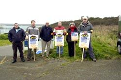 The picket line outside Milford Haven coastguard HQ this morning