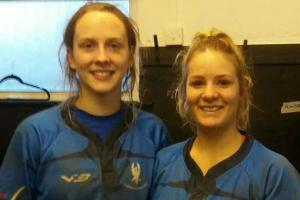 Haverfordwest try scorers Awen Prysor and Stephanie Harris after the match.