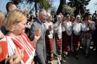 In pictures: Charles steps out with traditional dancers during Bucharest museum visit
