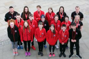 The Pembrokeshire County Swimming Squad that excelled in Swansea.