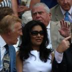 Western Telegraph: Bruce Forsyth (left), his wife Wilnelia and Jimmy Tarbuck (right) during Day Three of the 2010 Wimbledon Championships at the All England Lawn Tennis Club, Wimbledon (PA)