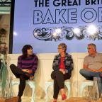 Western Telegraph: Richard Bacon (right) with judges and presenters for The Great British Bake Off (from left) Sandi Toksvig, Noel Fielding, Prue Leith and Paul Hollywood at Channel 4 studios in central London (PA)