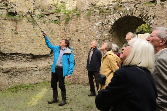 Richard Turner points out the finer details at Lamphey Palace.