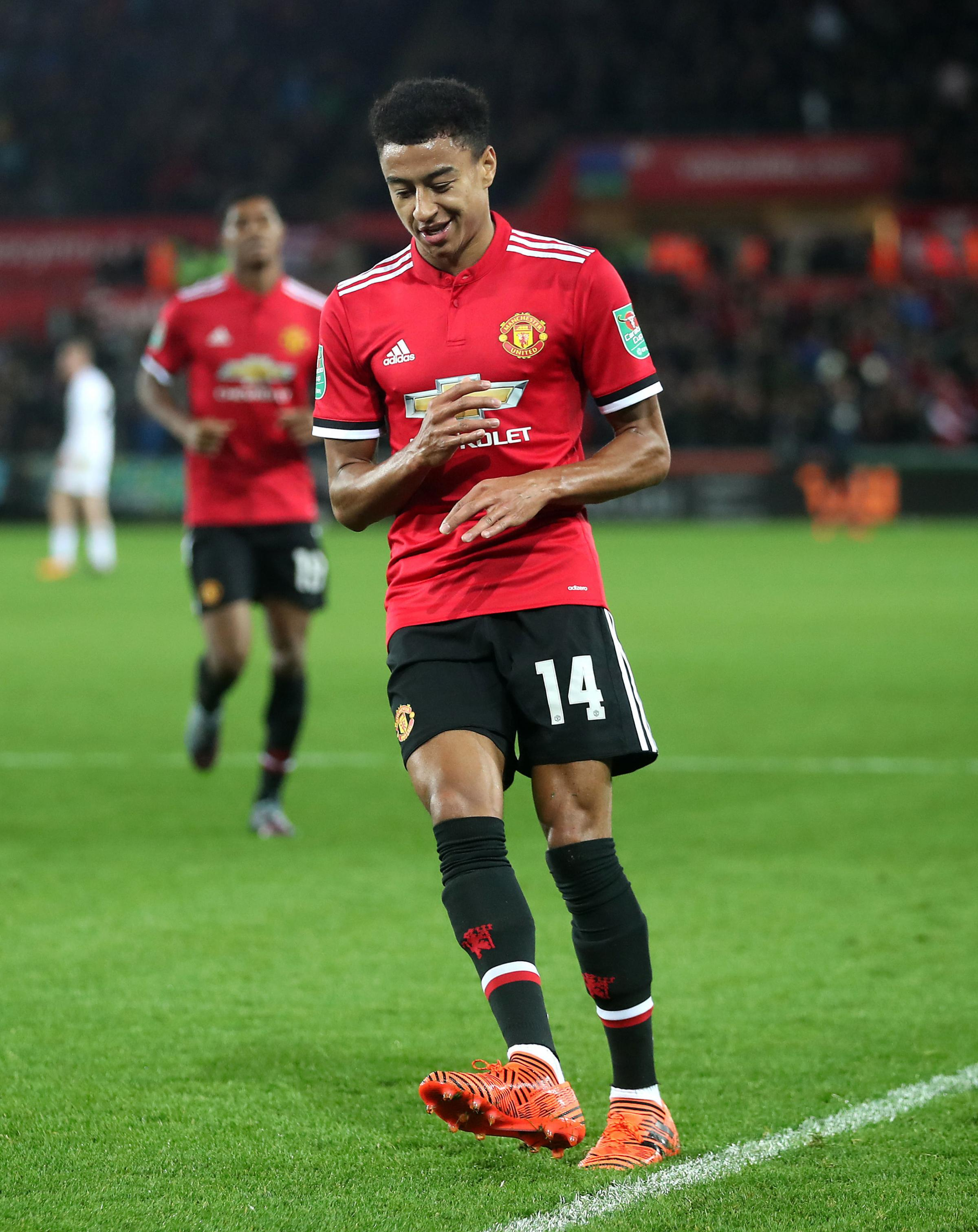 Manchester United's Jesse Lingard celebrates his goal at the Liberty Stadium. PICTURE:PRESS ASSOCIATION.