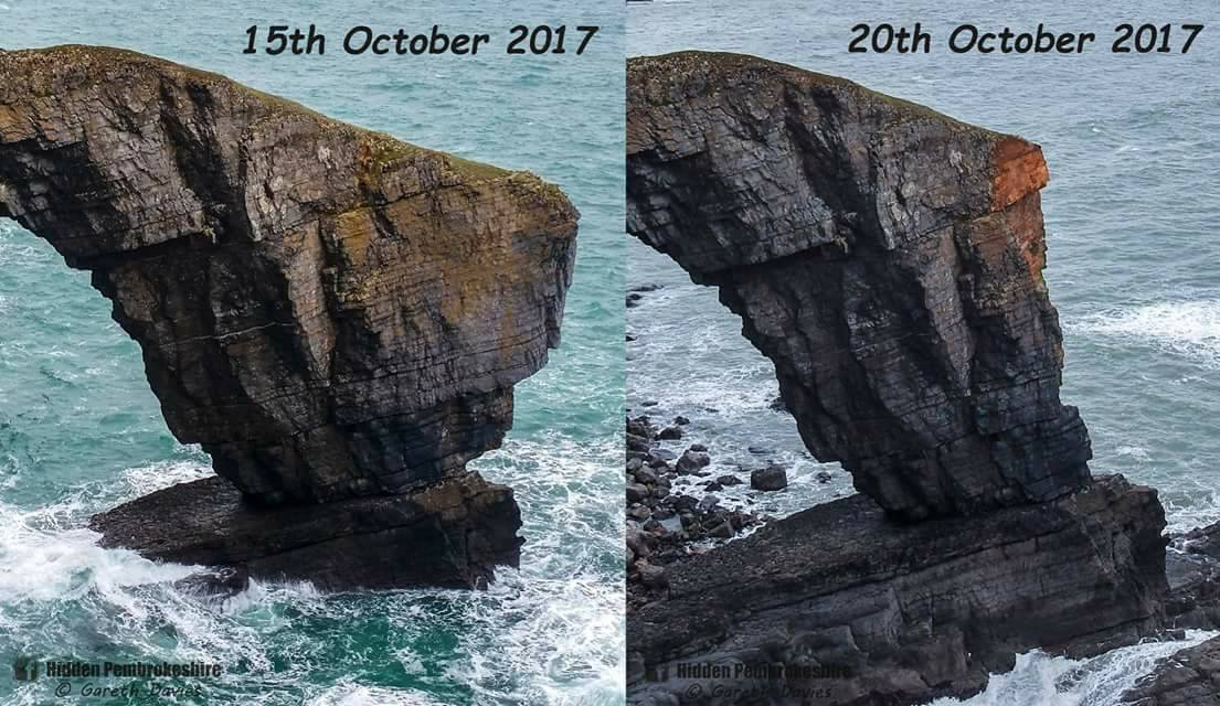 Before and After: The Green Bridge photographed on October 15, and then five days later on October 20 following Storm Ophelia. PICTURE: Gareth Davies - Hidden Pembrokeshire.