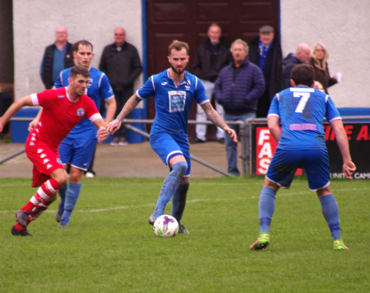 Sam Rodon had a solid game at the back for Haverfordwest County . PICTURE: Western Telegraph