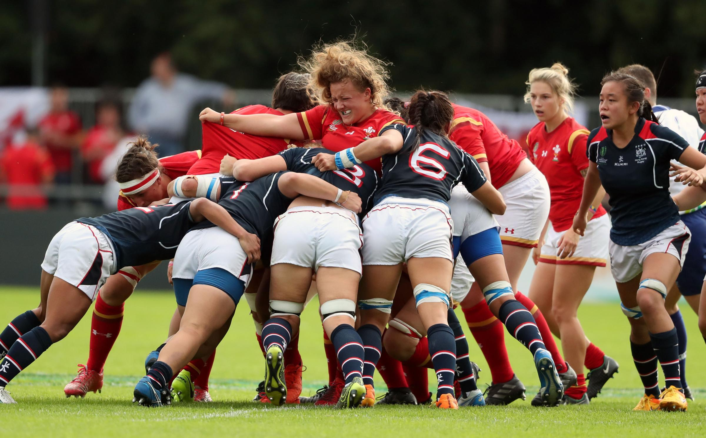 Wales' Lleucu Geogre (centre) during the 2017 Women's Rugby World Cup, Pool A match at UCD Bowl, Dublin. PRESS ASSOCIATION Photo. Picture date: Thursday August 17, 2017. See PA story RUGBYU Wales Women. Photo credit should read: Niall Carson/PA Wi