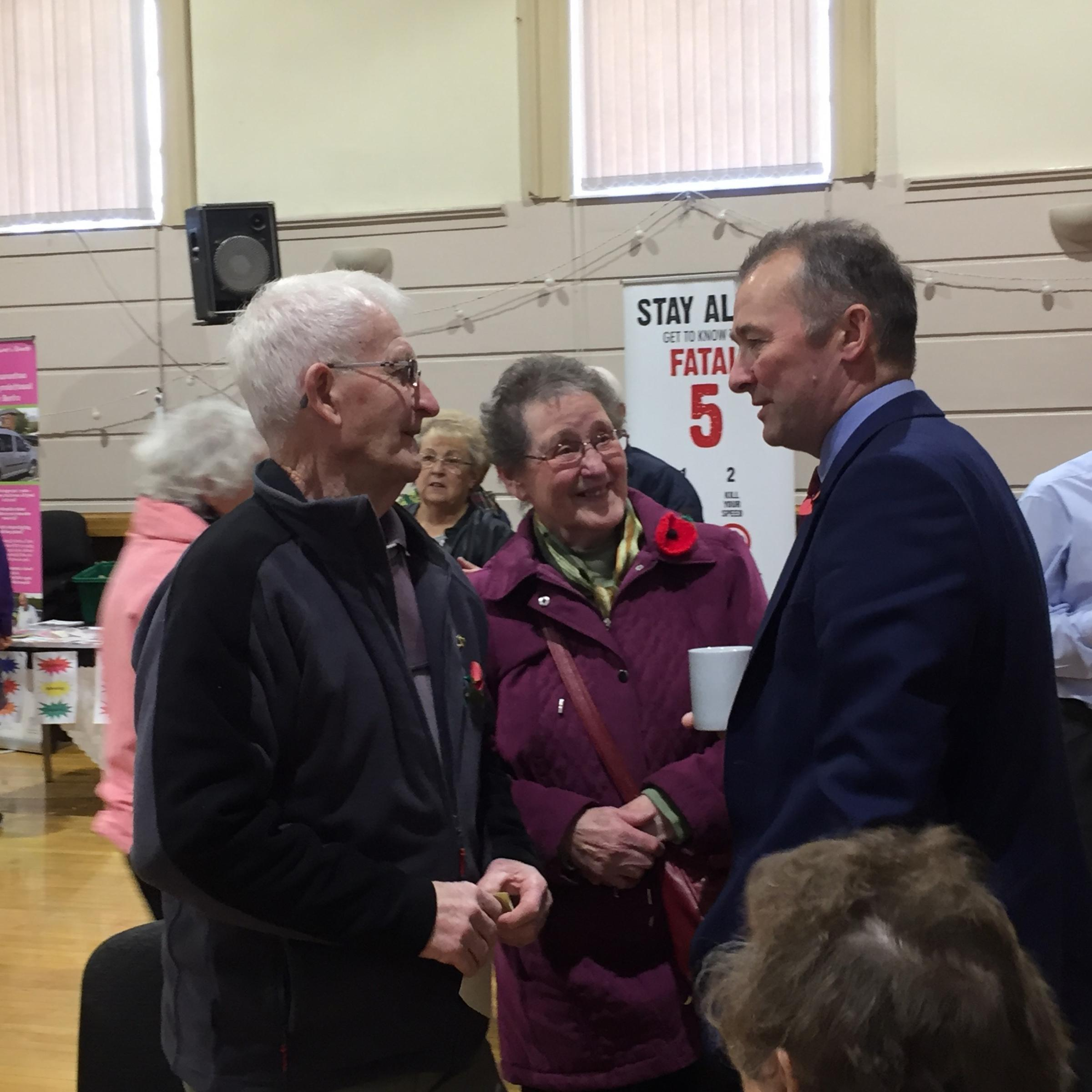 Simon Hart is pictured chatting to attendees at his recent 50 Plus Fair in Pembroke Dock.