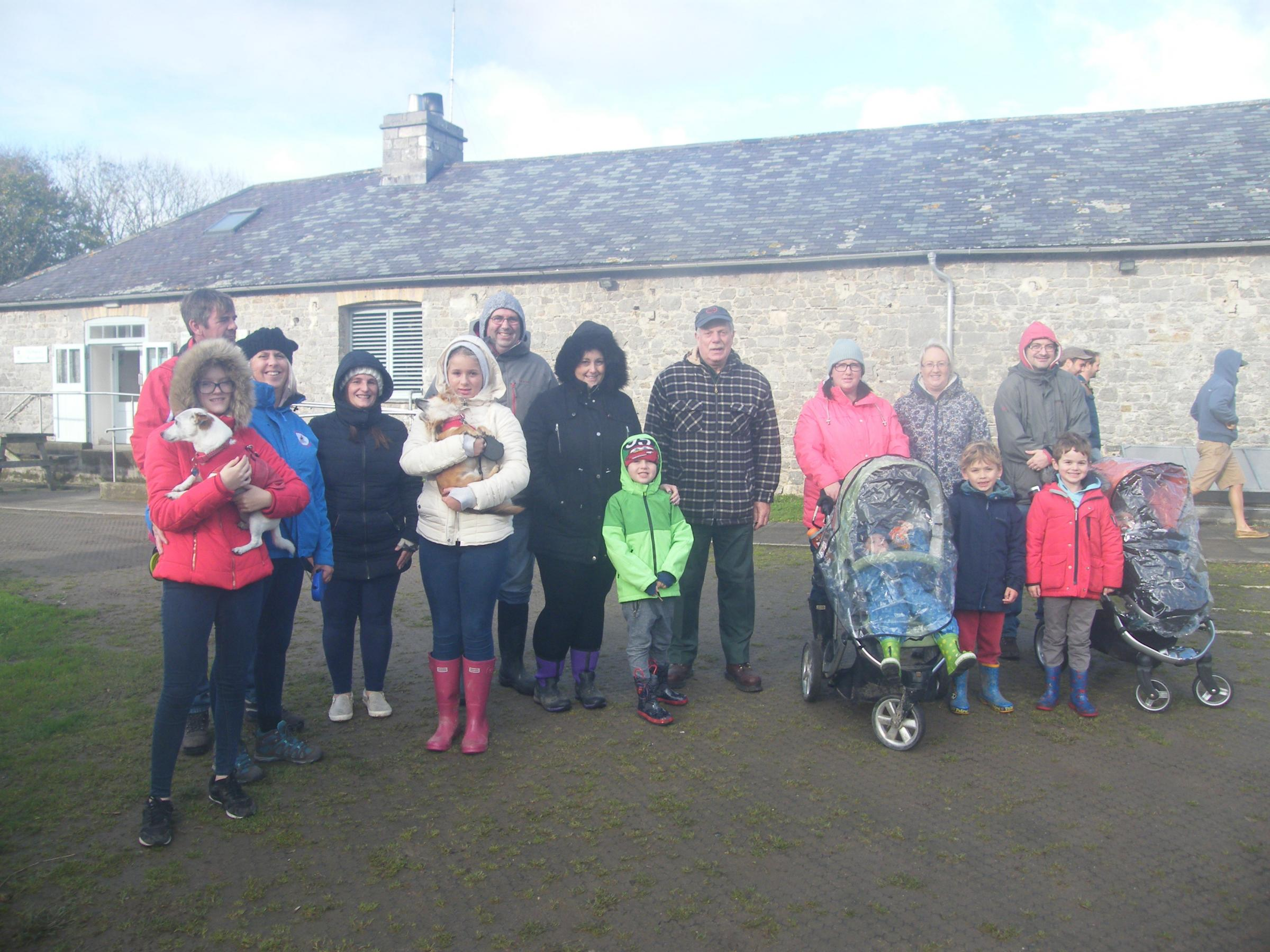 Walkers at the Stackpole Estate, raising funds for a community minibus for Pennar.