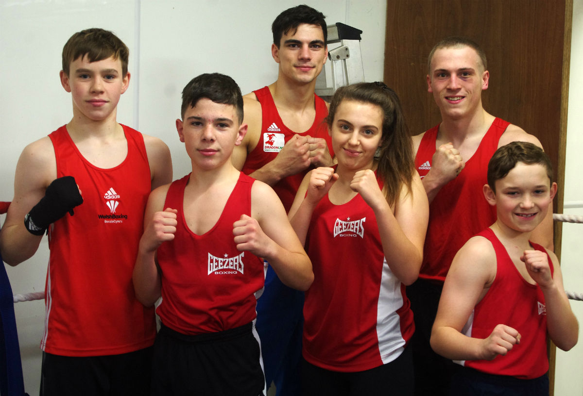 Six of the talented young boxers at Merlins Bridge ABC. PICTURE: Western Telegraph.