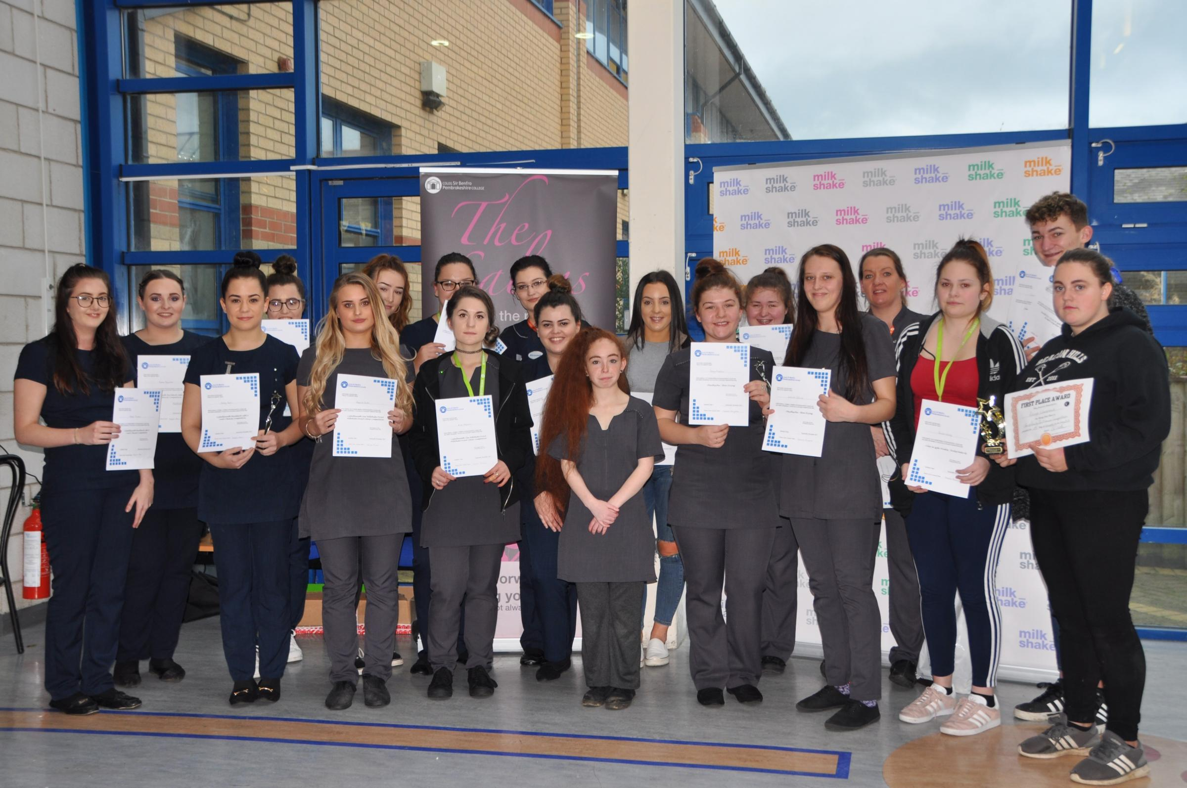 Pembrokeshire College's Hair and Beauty students have been showing off their skills in an internal competition. PCITURE: Pembrokeshire College.
