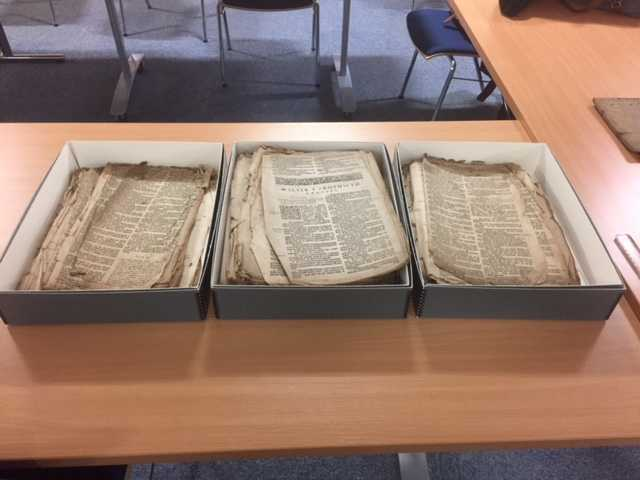 the Llanwnda Bible, which is undergoing conservation at UWTSD Lampeter.