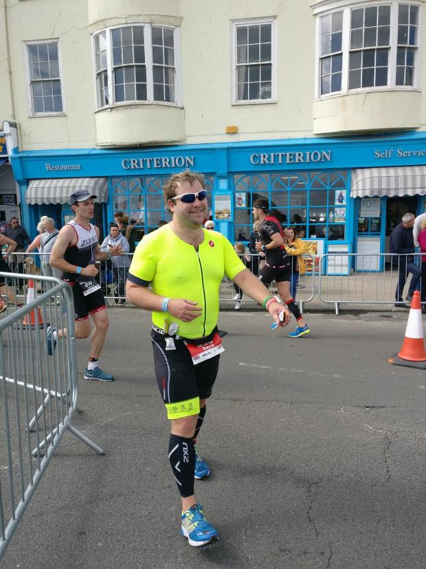 Western Telegraph: David Dutton taking part in the Weymouth half marathon